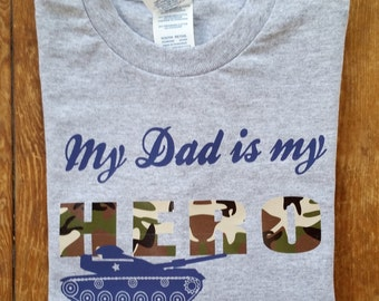 kids army dad shirt, My Dad is my Hero t shirt for kids, Father's day army dad shirt