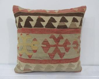Kilim pillow, handmade vintage cushion, rug pillow, vintage pillow, throw pillow, kilim cushion cover, pillows,  accent pillow - TV50136