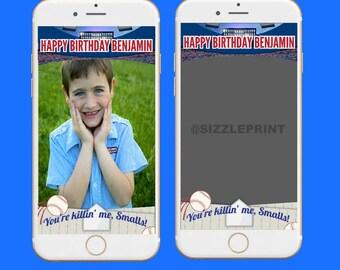 BASEBALL GEOFILTER  Plus Family & Friends Message   Custom Personalized Snapchat Geofilter   Boy Girl Baseball Birthday Party Team