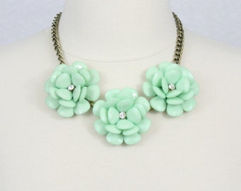 Mint Statement Necklace Beaded Rose Necklace Chunky Flower Necklace Collar Necklace Three Flower Necklace Rosette Bib Necklace Green