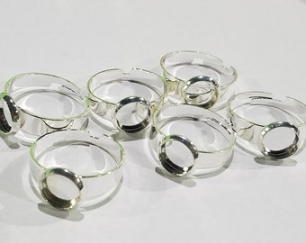 Silver tone adjustable ring 8mm- 6pcs