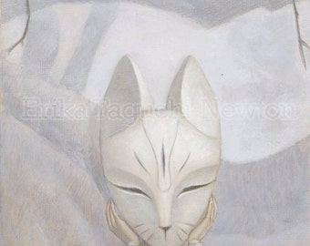 Fox Art, Fox Mask Art Print, Forest Painting - We Hide in the Forest (Fox)