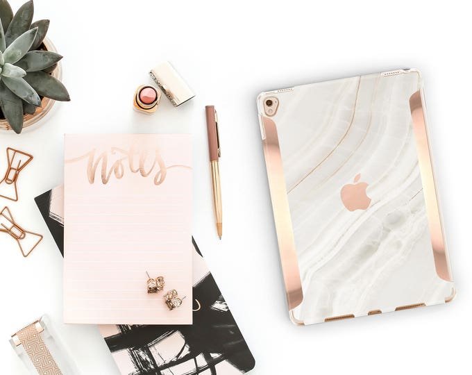 "Featured listing image: iPad Case . iPad Pro 10.5 . Marble Stone with Rose Gold for the   iPad Pro 12.9"" Smart Keyboard compatible Hard Case"