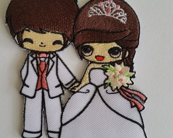 Couple Groom Bride Wedding Sew Iron on Patch .