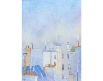 ACEO Original watercolor painting - Chilly in Paris