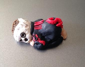 "OOAK 2.5"" Slipknot Corey Taylor Sleeping Baby Polymer Clay Cake Topper Keepsake Figurine Gift"