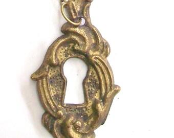 Antique Key Hole Necklace Pendant.Bronze . Door of happiness. Door of love- Nozzle for the lock. Art.8114. Gift, Anniversary, Birthday.