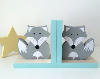 Fox Bookends, Gray and Aqua Blue, Woodland Nursery, Woodland Kids Decor, Fox Nursery, Forest Themed Nursery, eco friendly