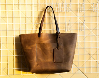 Leather tote bag Leather tote bag with pockets Leather bag Leather tote bags Personalized tote bag