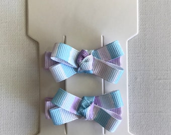 Pastel Blue and Purple Striped: Hair Clip Bows-Clippies-Infant-Toddler