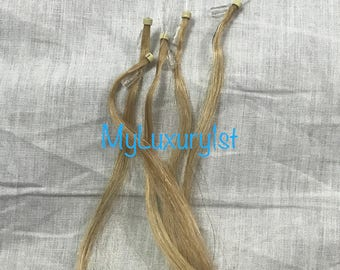 5 Pieces ASH BLONDE Remy Human Hair Extensions 19 inches Real Streaks Reusable Highlights Straight Micro Loop Hair microbead micro bead