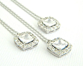 Princess Cut CZ Necklace, Bridesmaid Necklace, Crystal Wedding Necklace, Square Princess Cut Silver Necklace, Gift for Her