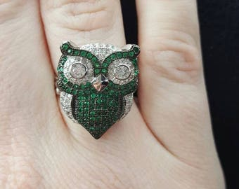 2ct Emerald and White Topaz Owl Ring