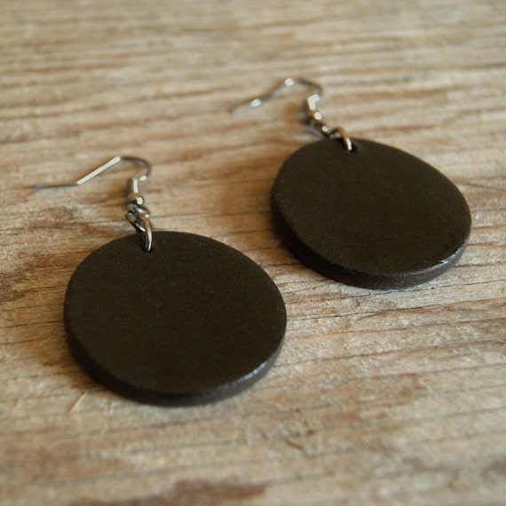 LARGE glossy black round stoneware drop earrings