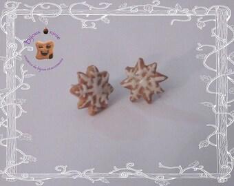 Puces d'oreilles biscuit étoile de noël en fimo