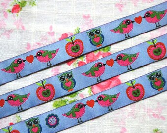 Bird Ribbon 1m - Woven Ribbon - Owl Ribbon - Fabric Ribbon - Jaquard Ribbon - Decorative Trim - Sewing Tape - Craft Ribbon - Bird - Owl