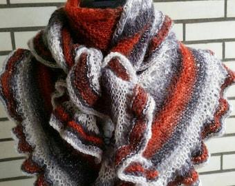 Triangular Knitted Shawl Handmade