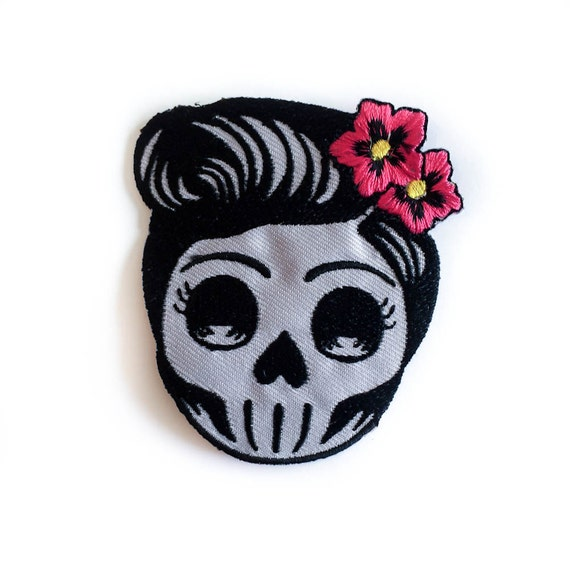 Rockabilly skull patch pin up lady skull iron on badge tattoo rockabilly skull patch pin up lady skull iron on badge tattoo embroidery pink flower skull girl size 375 x 345 p116 from tattooit on etsy mightylinksfo