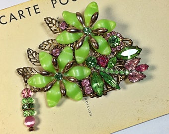 Lenore Vintage collage brooch pin Spring Lime Pink flowers rhinestone upcycled
