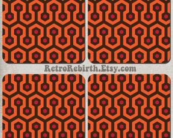 The Shining Overlook Hotel Carpet Pattern Retro Drink Coaster Set - Great For Housewarming, Bar & Coffee Table Display - Set Of 4