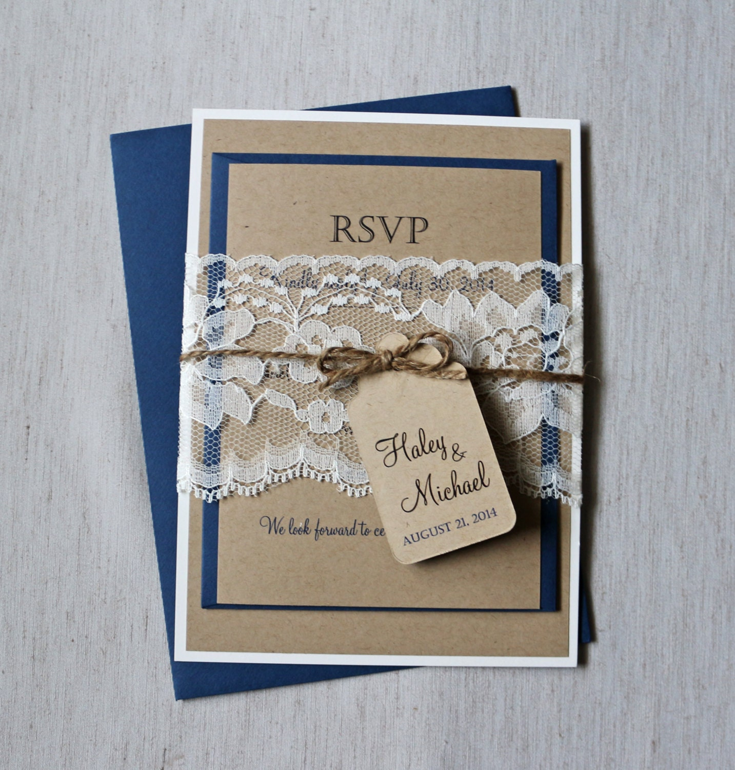 Rustic Navy Wedding Invitation Lace Wedding Invitation