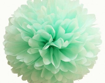 Mint Tissue Paper Pom, Mint Green Pom, Mint Tissue Paper Pom Pom, Mint Paper Flower, Tissue Flower, Wedding and Birthday Party Decor, Poms