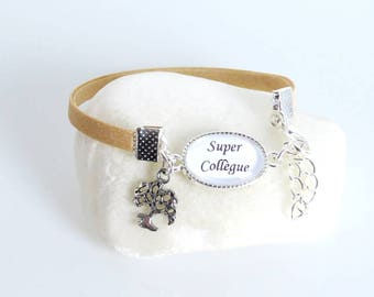 "Gift for ""super colleague"" sand color bracelet"