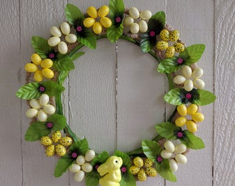 Easter egg and bunny wreath
