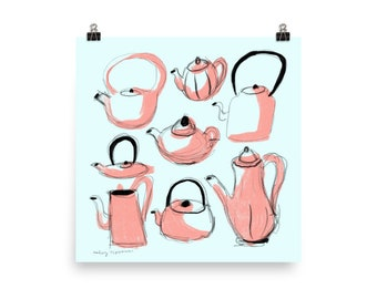 "Teapots and Kettles Illustration by Haley Tippmann 10"" x 10"""