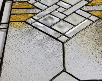 Stained Glass Panel, Custom Bevels with Gold accents