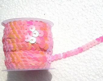 2 meters of Ribbon with sequins sewn light pink shiny sequins