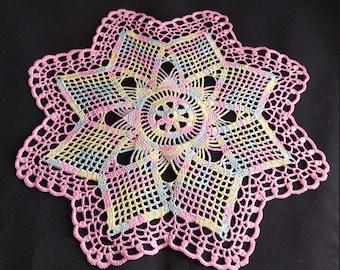 READY TO SHIP New melange crochet doily 14,2 inches-crochet tablecloth-crochet doilies-christmas gift-melange doily-medium doily-pink doily