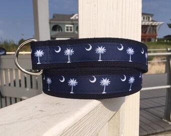 South Carolina Flag Belt / Palmetto Tree and moon Belt / Preppy Belt / Mens Belt / Ribbon Belt / D ring Belt / Belts for Men / Sizes 30 - 54