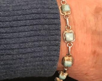 Sterling Silver & Larimar Bracelet