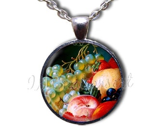 Fruit Still Life Glass Dome Pendant or with Chain Link Necklace BF130