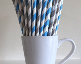 Blue and Gray Striped Paper Straws Sky Blue and Grey Party Supplies Party Decor Bar Cart Cake Pop Sticks  Party Graduation