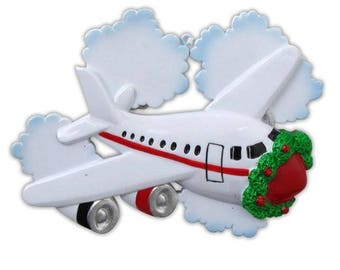 Airplane Ornament   Airplane  Jet  Aviation  Pilot Gift  Jetliner Personalized Christmas Ornament