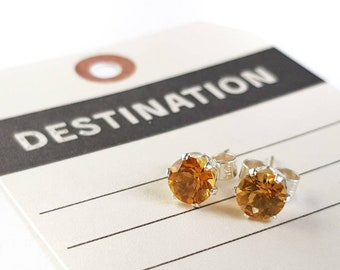 Citrine and Sterling Silver Stud Earrings