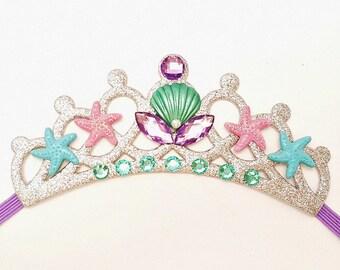 Mermaid Tiara, Mermaid Crown, Baby Elastic Mermaid Crown, Toddler Mermaid Crown, Ariel Under The Sea Crown,Beach Party, Adults Mermaid Tiara