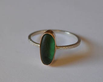 Custom Gold Bezel Geniune Sea Glass Ring with Decorative Silver Band