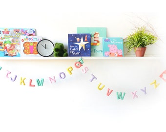 Pastel ABC Garland. Alphabet Garland. Nursery Wall Decor. Educational Toy. Room Decor. Kids Room. Felt Garland. Home Decor. Bunting.