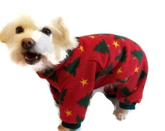 Christmas Dog Pajamas-Hooded Dog Pajamas-Pajamas for Dogs-Christmas Pajamas for Dogs-Fleece Dog Pajamas-Dog Onesie-Christmas Dog Onesie