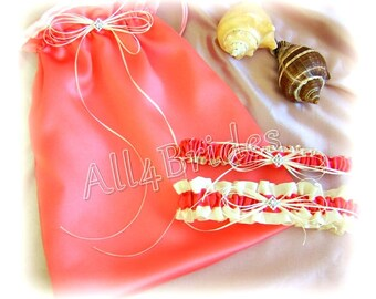 Coral wedding bridal garters and money dance drawstring bag, bridal accessories