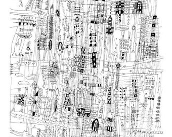 City Life - City Drawing line drawing Archival print of original drawing giclee landscape art  city art  black and white art 12 x 18 inches