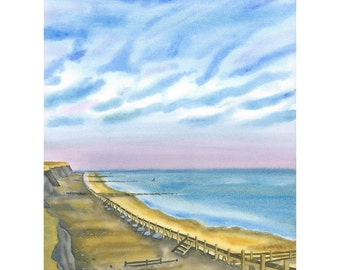 Norfolk Coastline Painting - Limited Edition Beach Giclee Print,
