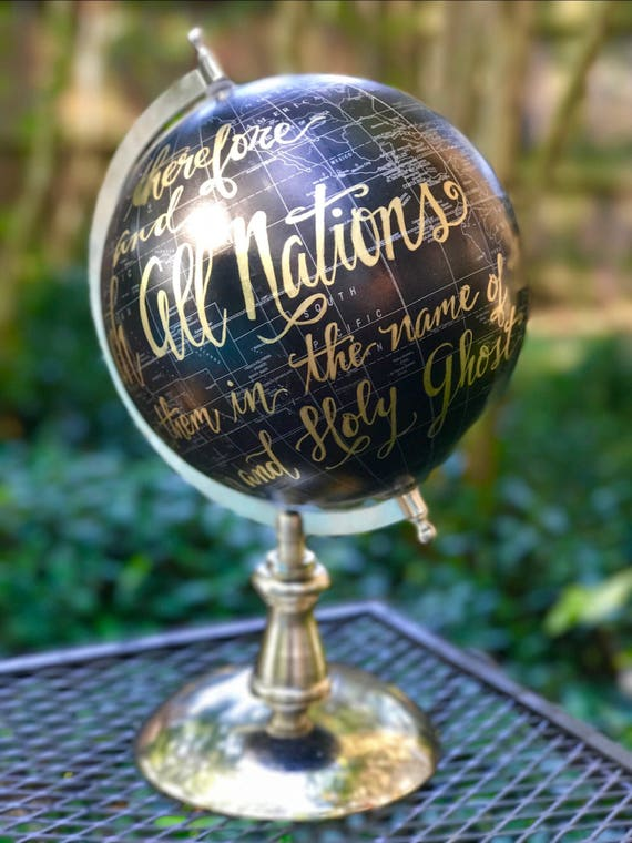 Custom Calligraphy Black and Gold Globe / silver base / Your Choice of Wording / Calligraphy Globe / Custom Options / Wedding Guest Book
