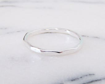 Sterling Silver Stacking Ring, Delicate Silver Ring, Handmade Stacking Ring, Skinny Silver Band, Thin Stacking Ring, Hammered Silver Band