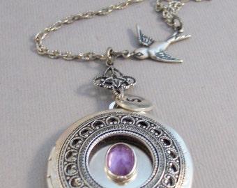 Amethyst Sparrow,Amethyst Locket,Antique Locket,Silver Locket,Purple Locket,Purple,Amethyst Necklace,Gemstone Locket,Gemstone Necklace