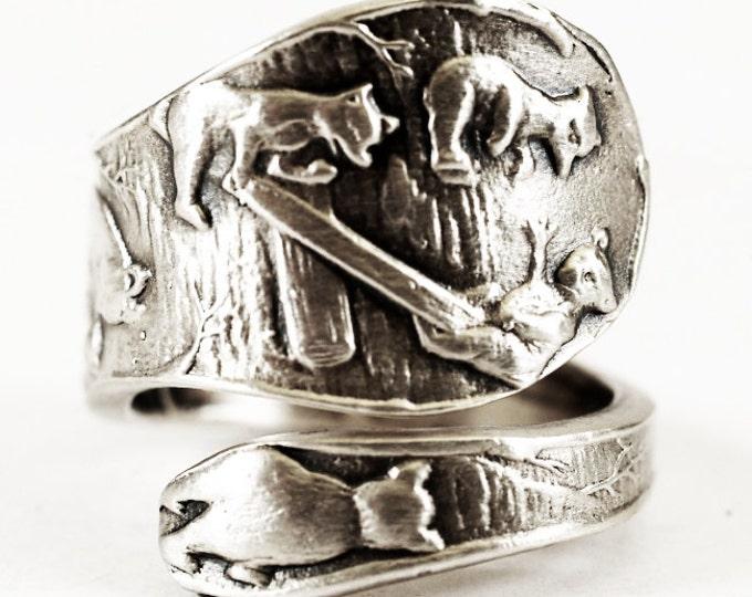Teddy Bear Ring, Sterling Silver Spoon Ring, Fishing Gifts, Bear Family Ring, Mama Bear, Papa Bear, Baby Bear Cub Ring, Woodland Animal V300