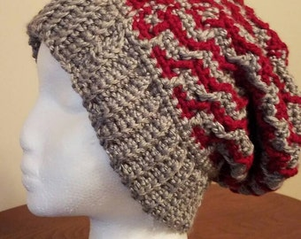 Red and Grey Slouchy Beret Hat - Ready to be Shipped